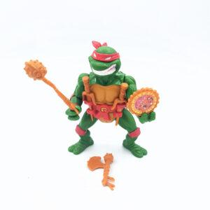 Cooler Raphael von den Teenage Mutant Ninja Turtles aus dem Jahr 1991 mit lachendem Gesicht und viel Zubehör von Playmates Toys
